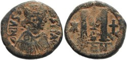 Ancient Coins - Justin I AE Follis 518-527AD - Constantinople