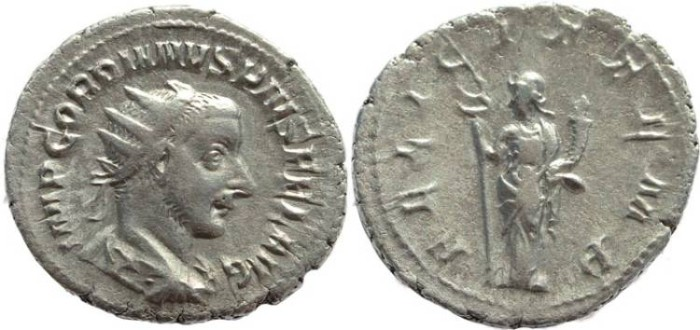 Ancient Coins - Gordian III AR silver antoninianus - FELICIT TEMP