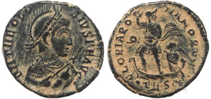 Ancient Coins - Roman coin of Theodosius I Ae2 - GLORIA ROMANORVM