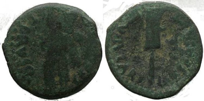 Ancient Coins - Germanicus & Drusus AE18 of Carteia, Spain