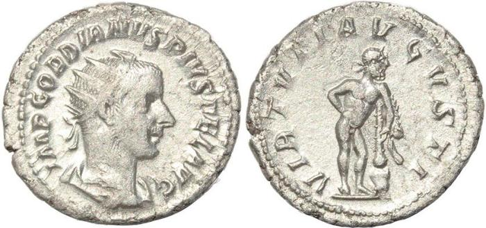 Ancient Coins - Roman coin of Gordian III AR silver antoninianus - VIRTVTI AVGVSTI - Hercules