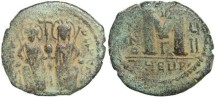 Ancient Coins - Byzantine Empire - Justin II & Sophia AE follis - Antioch - Year UII