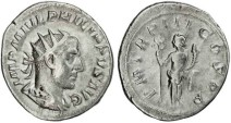 Ancient Coins - Philip I 'the Arab' silver antoninianus - PM TRP III COS PP