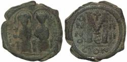Ancient Coins - Byzantine coin of Justin II and Sophia AE Follis - Constantinople - Year 4
