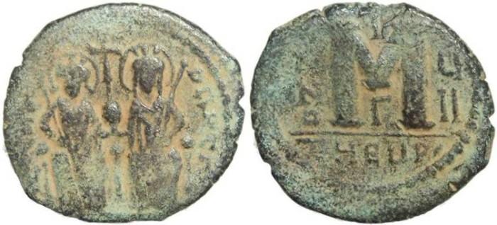 Ancient Coins - Byzantine Empire - Justin II & Sophia AE follis - Antioch - Year UII
