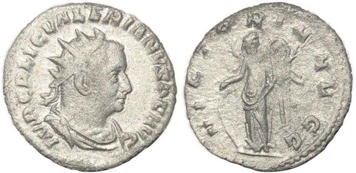 Ancient Coins - Roman coin of Valerian AR silver antoninianus - VICTORIA AVGG