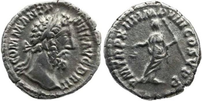 Ancient Coins - Commodus 177-192AD AR denarius - P M TR P XIII IMP VIII COS V P P
