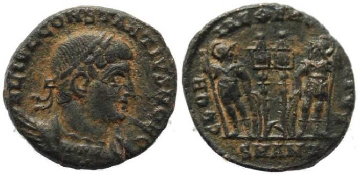 Ancient Coins - Constantius II as Caesar - GLORIA EXERCITVS - Antioch Mint