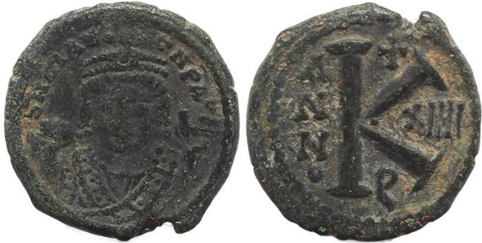Ancient Coins - Byzantine coin of Maurice Tiberius AE Half Follis - Antioch - Year 14