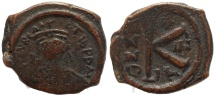 Ancient Coins - Byzantine coin of Maurice Tiberius 582-602 AD - Ae half follis