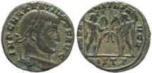 Ancient Coins - Silvered Ancient Roman coin of Maxentius - AETERNITAS AVG N - Ostia