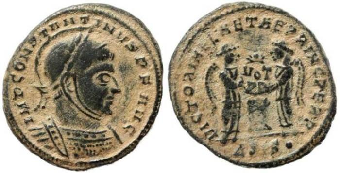 Ancient Coins - Roman Empire - Constantine I - VICTORIAE LAETAE PRINC PERP -  Siscia Mint