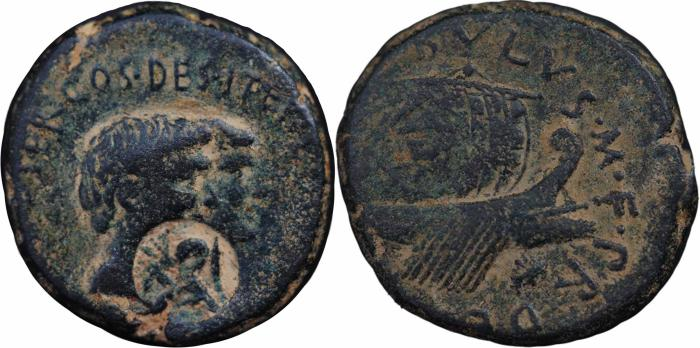 Ancient Coins - Roman Provincial coin of Mark Antony with Octavia. 38-37 BC. EXTREMELY RARE, FLEET COINAGE SERIES