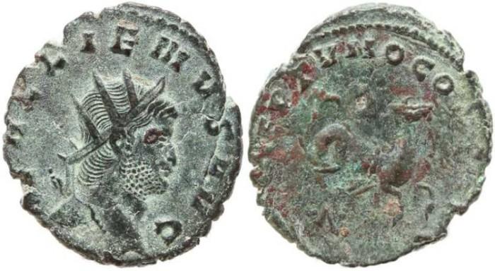 Ancient Coins - Gallienus Antoninianus - Rome mint - Hippocampus reverse