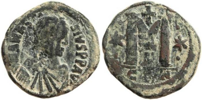 Ancient Coins - Anastasius I AE Follis - Constantinople, 491-518 AD