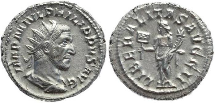 Ancient Coins - Philip I AR Silver antoninianus - LIBERALITAS AVGG II