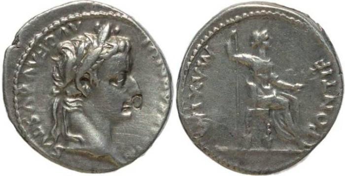 Ancient Coins - Tiberius 14-37AD  AR Denarius - 'Tribute Penny'