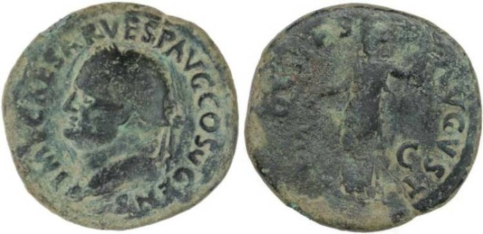 Ancient Coins - Vespasian Ae As - AEQVITAS AVGVST S-C