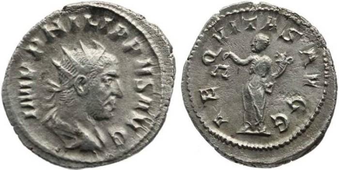 Ancient Coins - Philip I The Arab - Antoninianus - AEQVITAS AVGG