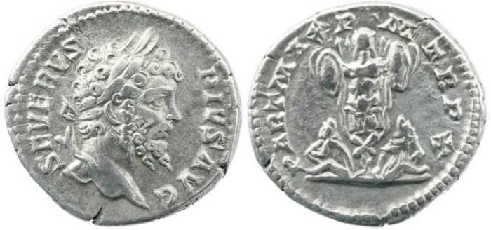 Ancient Coins - Roman Empire - Septimius Severus denarius - PART MAX PM TR P X