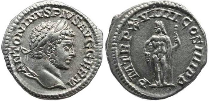 Ancient Coins - Caracalla AR Denarius - P M TR P XVIIII COS IIII P P