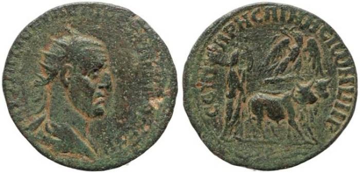 Ancient Coins - Trajan Decius, AE26 of Rhesaena, Mesopotamia.