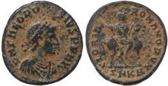 Ancient Coins - Roman coin of Theodosius I - GLORIA ROMANORVM - Emperor on horseback