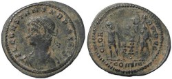 Ancient Coins - Constans - GLORIA EXERCITVS - Constantinople - 21mm flan - double struck