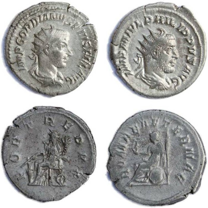 Ancient Coins - 2  Roman silver antoninianus of Gordian III and Philip I