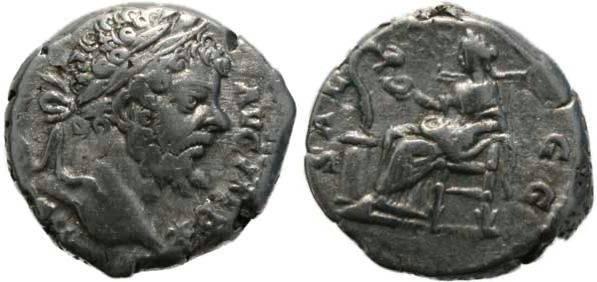 Ancient Coins - Septimius Severus 193-211AD denarius - Pax - Scarce