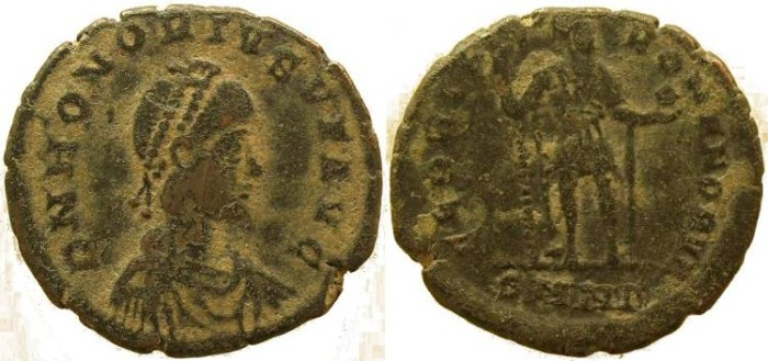 Ancient Coins - Honorius Ae2  - GLORIA ROMANORVM - Nicomedia Mint
