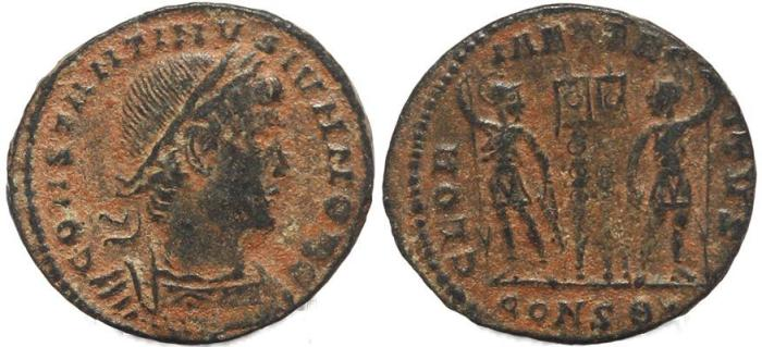 Ancient Coins - Roman coin of Constantine II - GLORIA EXERCITVS - Constantinople