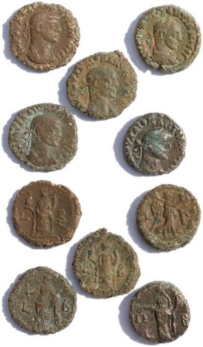 Ancient Coins - 5 Ancient Roman Egyptian potin tetradrachms