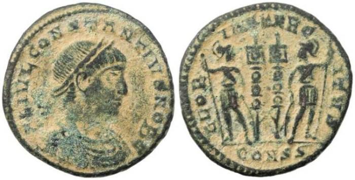 Ancient Coins - Constantius II - GLORIA EXERCITVS - Constantinople Mint