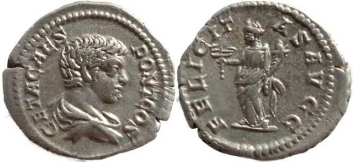 Ancient Coins - Geta AR silver denarius - FELICITAS AVGG - RIC 29, RSC 35, BMC 438