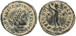 Ancient Coins - Roman coin of Constantine I - SOLI INVICTO COMITI - Ticinum
