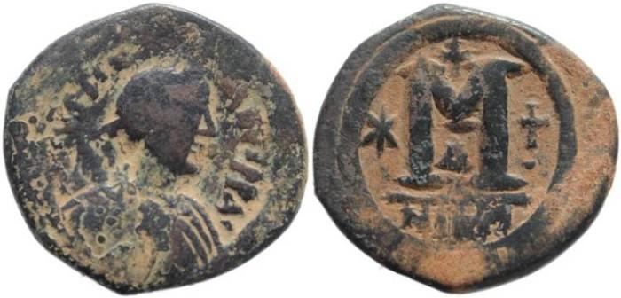 Ancient Coins - Byzantine Empire - Justinian I AE Follis - Nicomedia