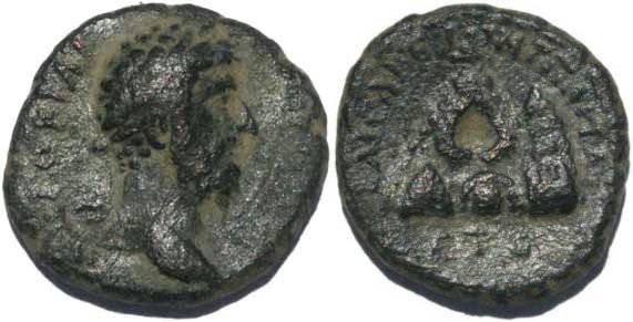 Ancient Coins - Marcus Aurelius, Caesarea, Cappadocia 166AD Syd 337 var