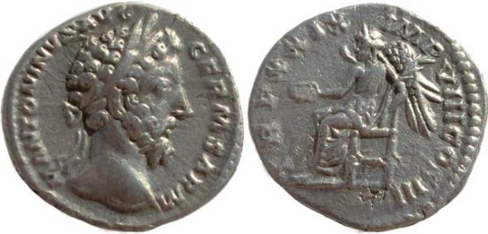 Ancient Coins - Marcus Aurelius silver denarius - TR P XXIX IMP VIII COS III
