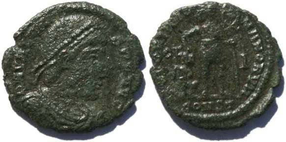 Ancient Coins - Valens 19mm 2.4 grams Arelate Mint 336-337AD Christogram