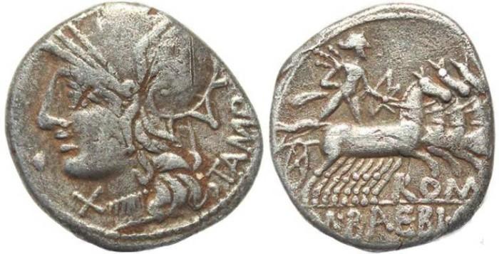 Ancient Coins - M. Babius Q.f. Tampilus 137 B.C. AR Denarius Rome Mint VF