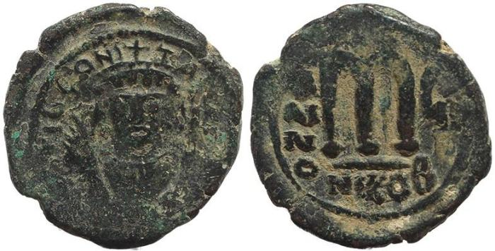 Ancient Coins - Byzantine coin of Tiberius II AE Follis - Nicomedia- Year 6