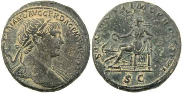 Ancient Coins - Trajan 98-117AD - SPQR OPTIMO PRINCIPI SC - Salus