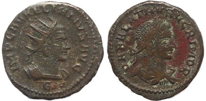 Ancient Coins - Roman coin of Vabalathus and Aurelian AE Antoninianus - VABALATHVS VCRIM DR