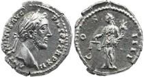 Ancient Coins - Antoninus Pius AR Denarius -  COS IIII