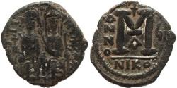 Ancient Coins - Byzantine coin of Justin II & Sophia 565-578 AD AE Follis - Nicomedia mint - Nice example