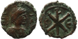 Ancient Coins - Byzantine coin of Justin I 512-518 AD Ae Pentanummium