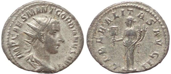 Ancient Coins - Roman coin of Gordian III AR silver antoninianus - LIBERALITAS AVG II