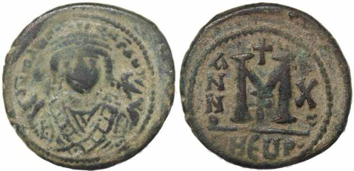 Ancient Coins - Byzantine coin of Maurice Tiberius AE Follis - Antioch - Year 10