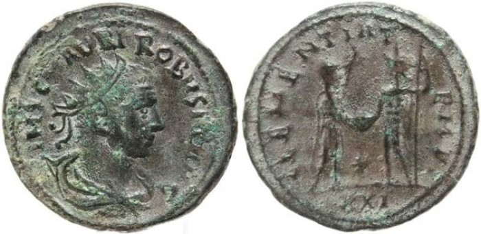 Ancient Coins - Silvered Roman coin of Probus - CLEMENTIA TEMP